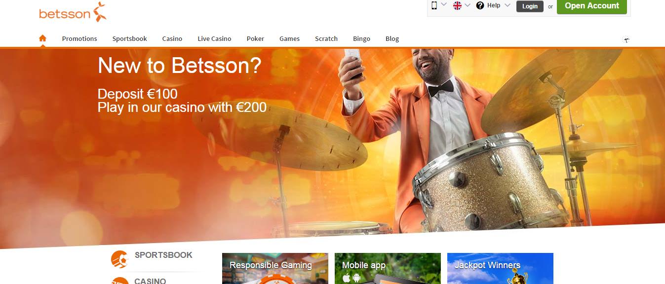 Betsson start page